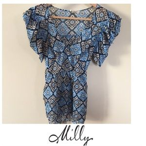 Milly New York Pattern Ruffle Blouse